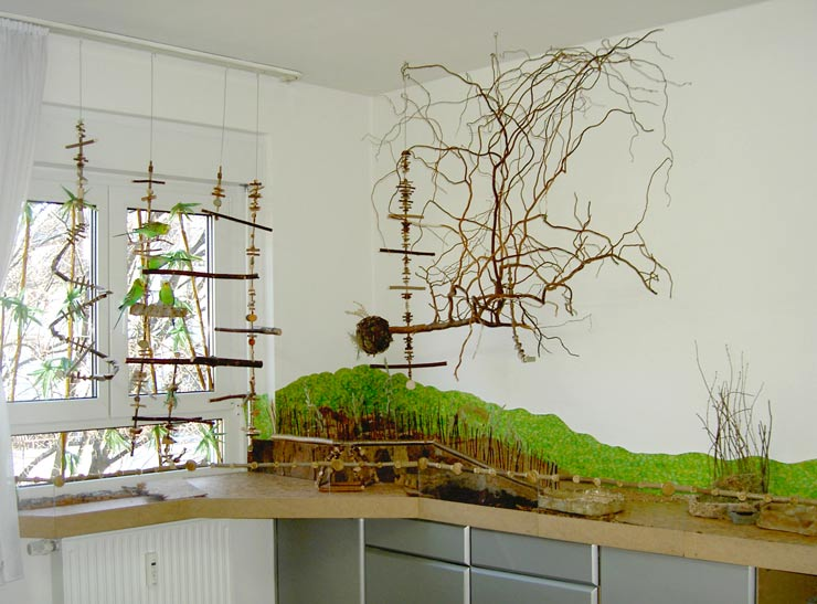 Ein Vogelwald in der Baumschule